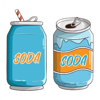 Ensemble de canette de soda avec style dessiné à la main de couleur