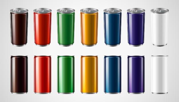 Ensemble de canettes en aluminium colorées