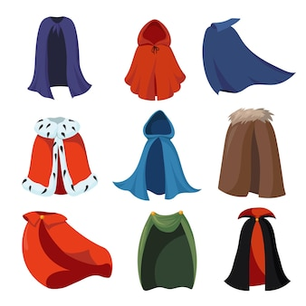 Ensemble de capes de dessin animé
