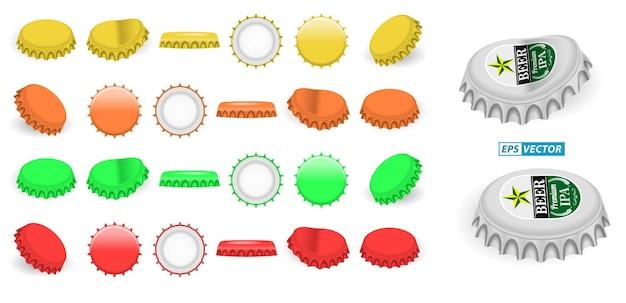 Ensemble de capsules de bouteilles de couronne réalistes en aluminium isolé ou bouchon de bouteille de limonade à la bière couvercle métallique
