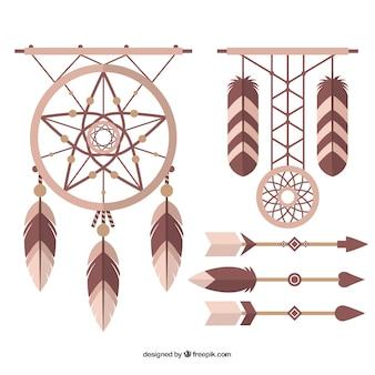 Ensemble de capteurs de rêves et des flèches dans le design plat