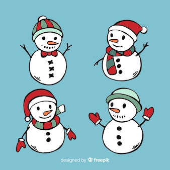 Ensemble de caractère bonhomme de neige dessiné à la main