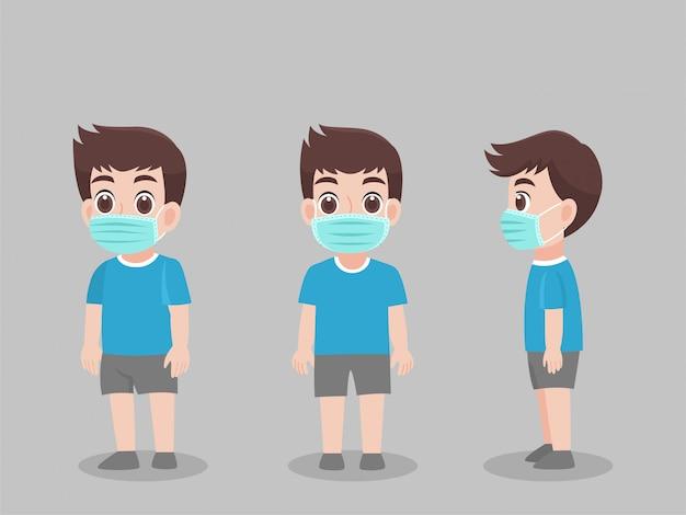 Ensemble de caractère enfants garçon portant un masque médical de protection pour prévenir les virus