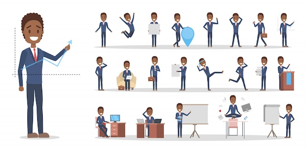 Ensemble de caractère homme d'affaires ou employé de bureau afro-américain dans diverses poses, émotions et gestes de visage. homme travaillant en costume bleu. illustration