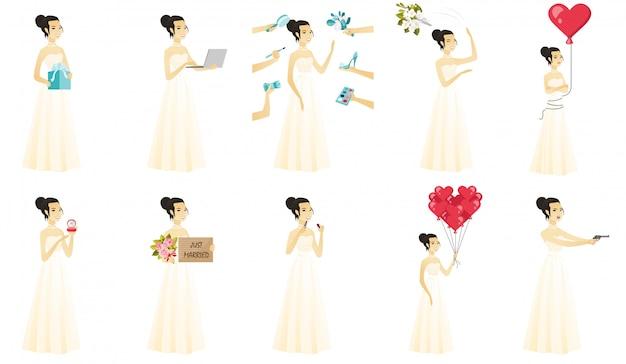 Ensemble de avec le caractère de la mariée asiatique.