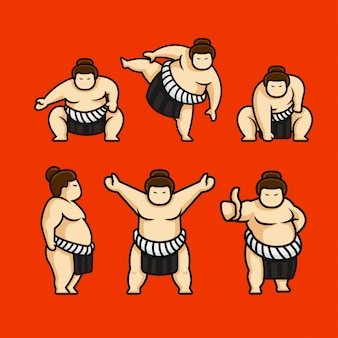 Ensemble de caractère mignon sumo japon