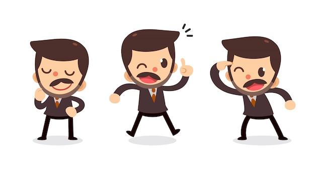 Ensemble de caractère petit homme d'affaires en actions. obtenez une idée.