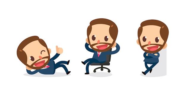 Ensemble de caractère de petit homme d'affaires en actions