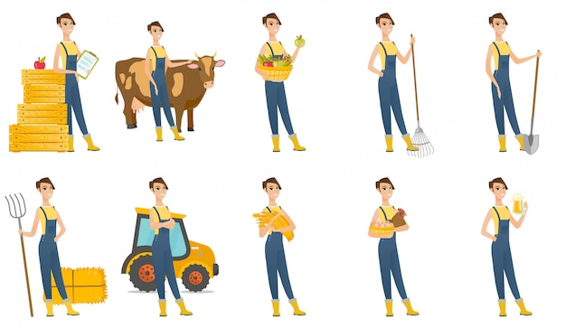 Ensemble de avec les caractères de l'agriculteur