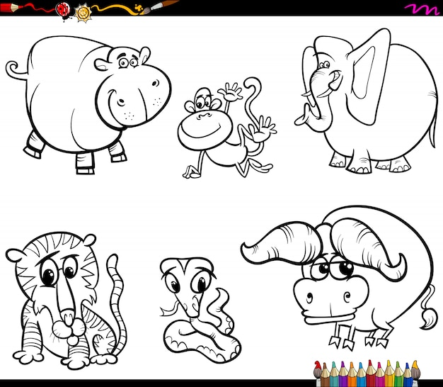 Ensemble de caractères animaux livre de coloriage