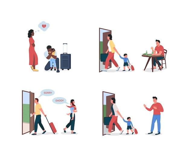 Ensemble de caractères détaillés à plat des parents en instance de divorce. mère partant avec l'enfant. papa alcoolique. collection de dessins animés isolés sur les conflits familiaux