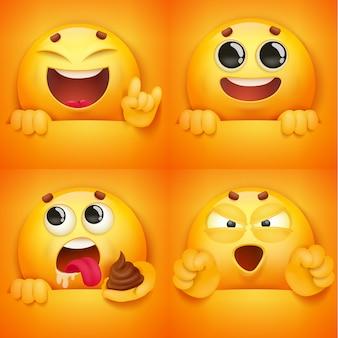 Ensemble de caractères emoji visage souriant jaune dans diverses émotions et situations