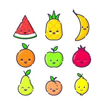 Ensemble de caractères de fruits avec des grimaces. design plat linéaire.