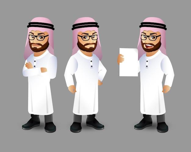 Ensemble de caractères de l'homme arabe