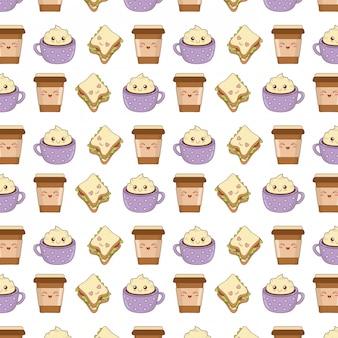 Ensemble de caractères kawaii de nourriture de boulangerie