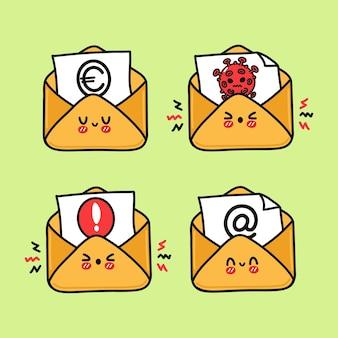Ensemble de caractères de lettre heureux mignon drôle