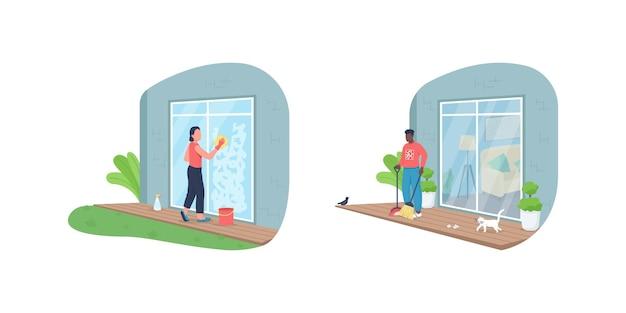Ensemble de caractères sans visage de couleur plate de nettoyage de maison en plein air
