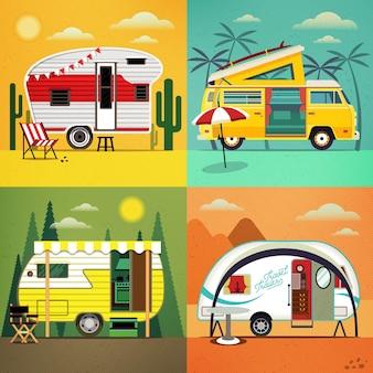 Ensemble de caravanes de voyage avec différents paysages