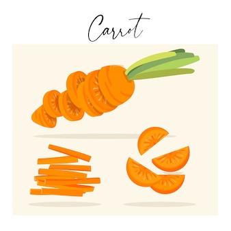 Ensemble de carottes coupées et tranches flottantes