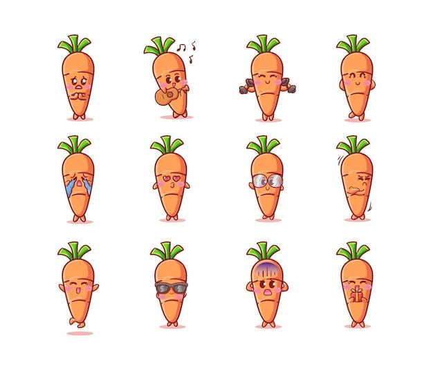 Ensemble de carottes mignonnes et kawaii avec diverses activités et expressions