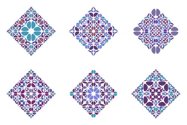 Ensemble carré diagonal de pétales géométriques abstraits ornés