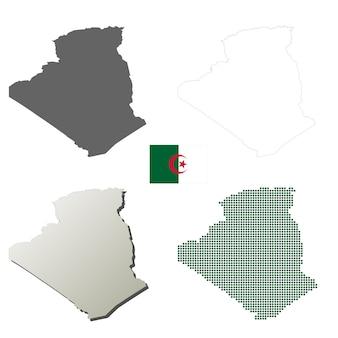 Ensemble de carte de contour vecteur algérie