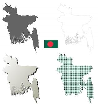 Ensemble de carte de contour de vecteur de bangladesh