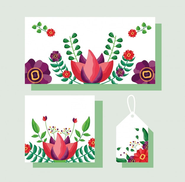 Ensemble de carte, étiquette ou étiquette avec thème de fleurs