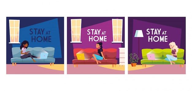 Ensemble de carte avec étiquette de séjour à la maison par coronavirus