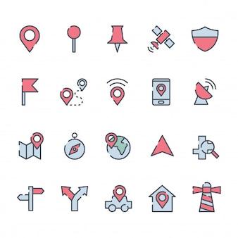 Ensemble de carte icône de localisation vecteur
