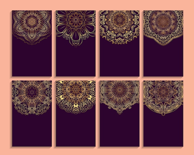 Ensemble de carte d'invitation ou d'affaires avec un motif de mandala