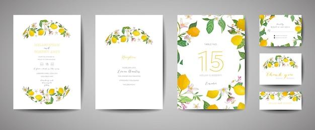 Ensemble de carte d'invitation de mariage botanique, vintage save the date, modèle de conception de fleurs et de feuilles de fruits de citrons, illustration de fleur. couverture tendance de vecteur, affiche graphique, brochure