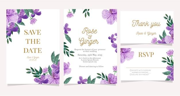 Ensemble de carte d'invitation de mariage avec fleur aquarelle