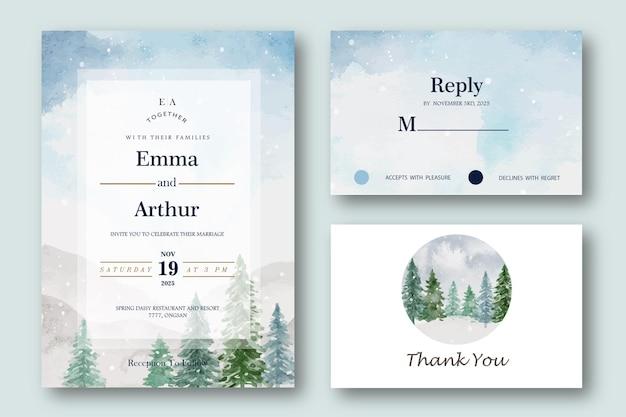 Ensemble de carte d & # 39; invitation de mariage isolé sur bleu