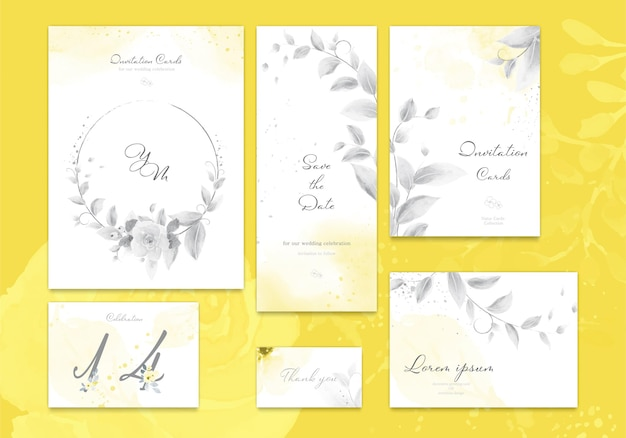 Ensemble de carte d'invitation de mariage lumineux jaune et gris ultime avec fleur rose, feuilles aquarelle.