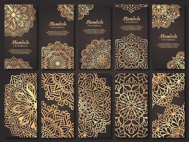 Ensemble de carte d'invitation de mariage de luxe avec un design de mandala en or, modèle d'invitation de mariage mandala