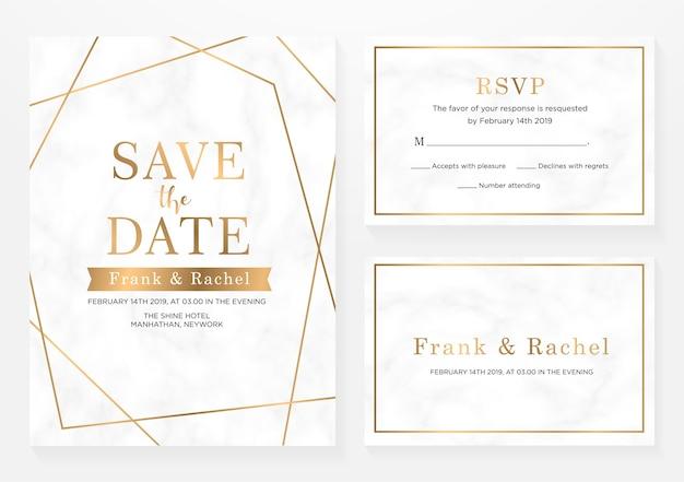 Ensemble de carte d'invitation de mariage