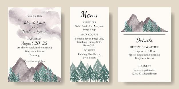 Ensemble de carte d'invitation avec paysage de montagnes aquarelle et arbres
