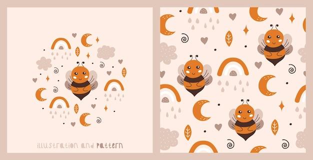 Ensemble de carte et modèle sans couture avec des nuages et des étoiles mignons de lune d'arc-en-ciel d'abeille