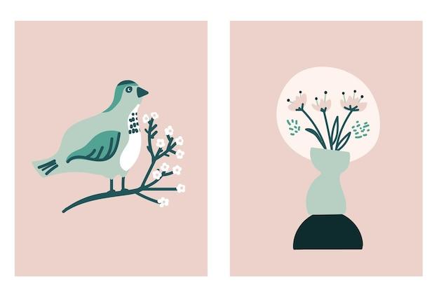 Ensemble de carte de printemps avec oiseau sur brunch de fleurs et vase de fleurs