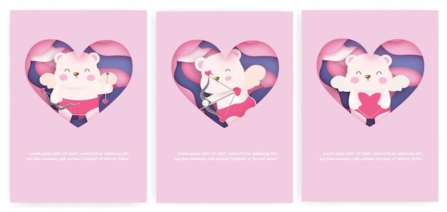 Ensemble de carte de la saint-valentin avec ours mignon cupidon