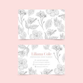 Ensemble de carte de visite modèle floral dessiné à la main réaliste
