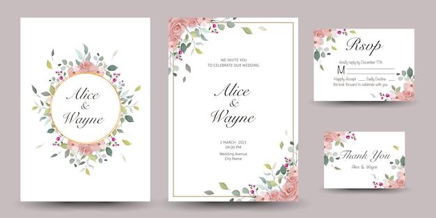 Ensemble de carte de voeux décorative ou invitation avec floral