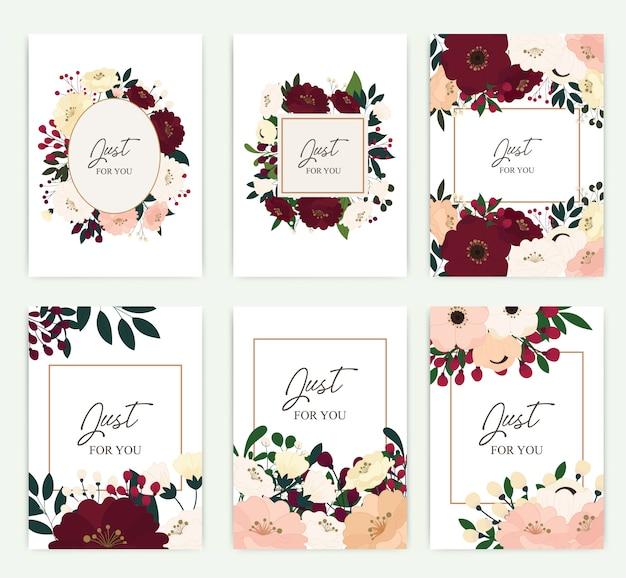 Ensemble de carte de voeux avec des fleurs.