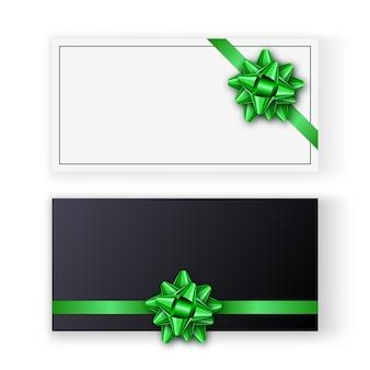 Ensemble de carte de voeux horizontale noir et blanc avec un arc vert lié