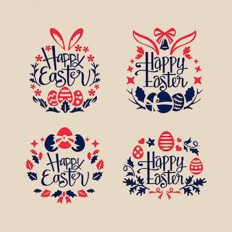 Ensemble de carte de voeux de joyeuses pâques avec couronne et écriture phrase de joyeuses pâques