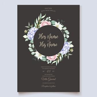 Ensemble de cartes aquarelle élégant hortensia