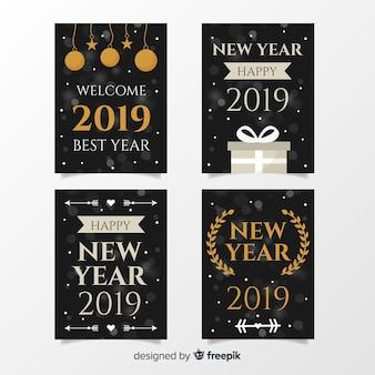 Ensemble de cartes d'argent du nouvel an