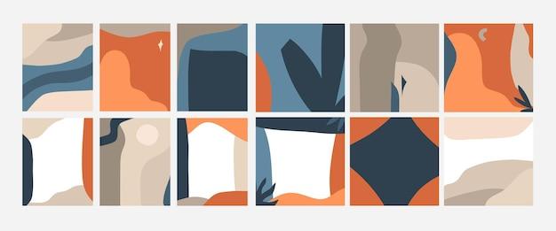 Ensemble de cartes d'art d'illustration graphique vectorielle abstraite dessinée à la main, avec un modèle d'impression contemporain artistique de nature géométrique minimale de collage de formes et de silhouettes boho dans des couleurs neutres.