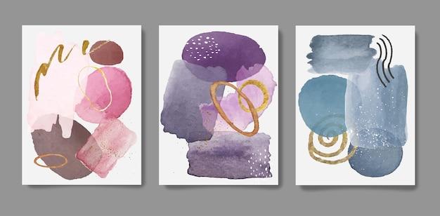 Ensemble de cartes d'art de mur de tache de pinceau violet aquarelle lumière douce abstraite